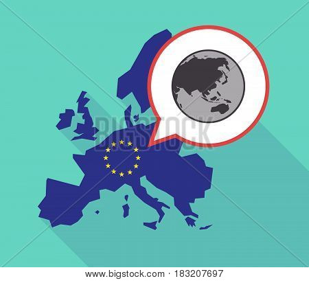Long Shadow Eu Map With  An Asia Pacific World Globe Map