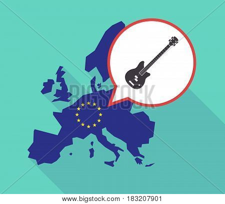 Long Shadow Eu Map With  A Four String Electric Bass Guitar