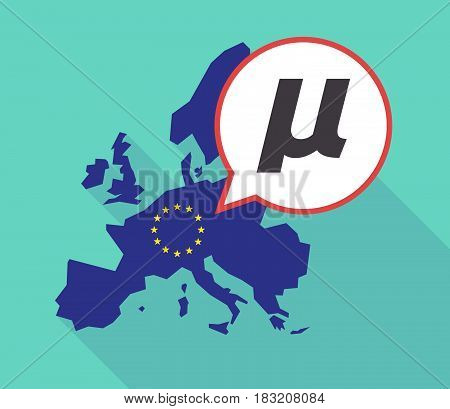 Long Shadow Eu Map With  A Micro Sign, Mu Greek Letter