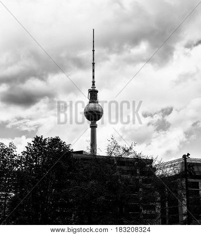 BERLIN GERMANY - APRIL 23 2017: Silhouette of The Berlin Television Tower black and white