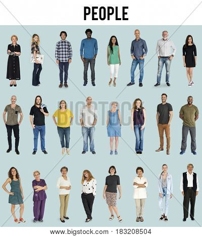 Diversity People Together Mixed Set Studio Isolated