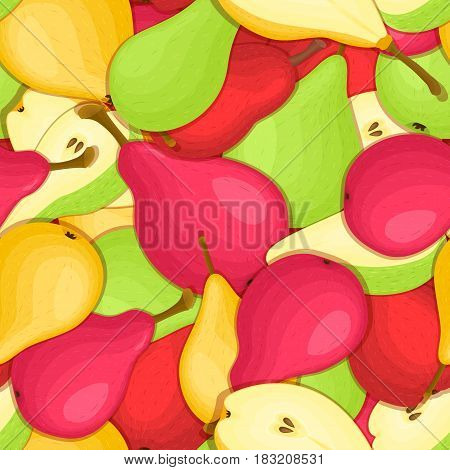 Ripe juicy pear seamless background. Vector card illustration. Closely spaced fresh pear fruits peeled, piece of half, slice. Pear seamless pattern for packaging design food, juce, detox diet
