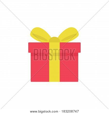 Gift flat icon, mothers day, giftbox with ribbon vector graphics, a colorful solid pattern on a white background, eps 10.