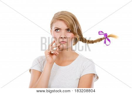 Teenage Girl In Braid Hair Making Thinking Face
