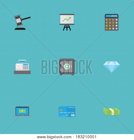 Flat Payment, Till, Growing Chart And Other Vector Elements. Set Of Commerce Flat Symbols Also Includes Laptop, Safe, Secure Objects.