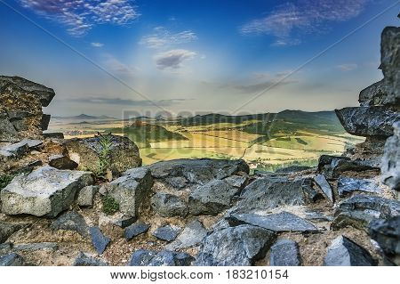 Summer view from the Ruins of Kostalov Castle/Czech Republic/
