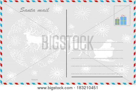 Santa mail. Vector design postcard Vector design card on white