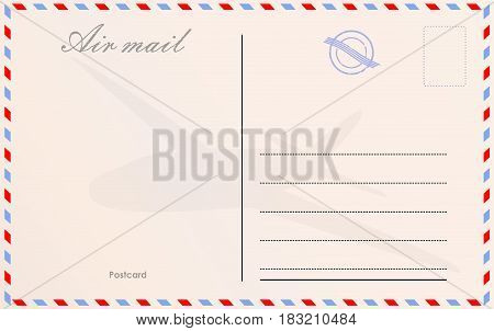 Travel postcard vector in air mail style with paper texture and stamps