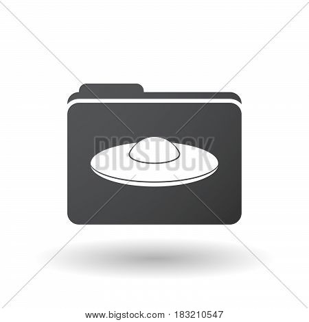 Isolated Folder Signal With  A Flying Saucer Ufo