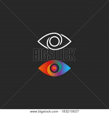 Eye Logo Gradient And Linear Style Design Element. Transition Color Creative Vision Simple Media Ico