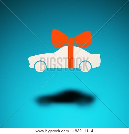 Car as a gift. An icon of a car hovers in the air casting a shadow on blue background. Above the car is a bow as a gift symbol.