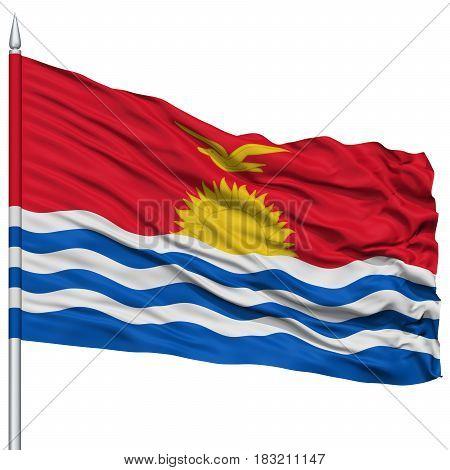 Kiribati Flag on Flagpole , Flying in the Wind, Isolated on White Background