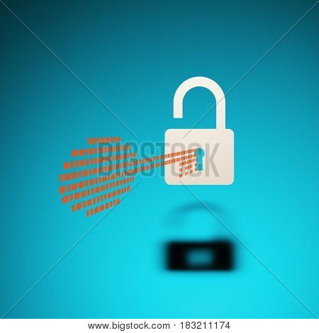 Icon of the hacked lock as a sign of hacking activity Internet threats personal data theft on blue background.