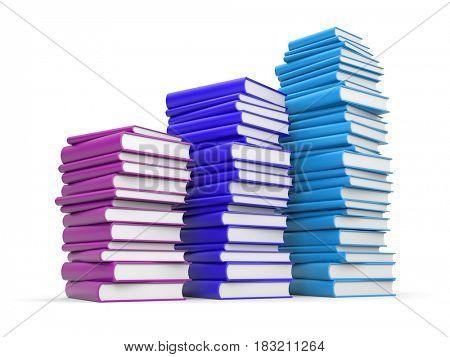 Books stack. 3d illustration