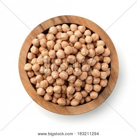 Top view of wood bowl with chickpeas isolated obn white