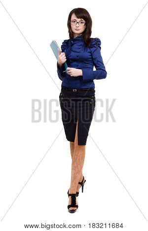 Full body portrait of business woman with blue folder, isolated on white background