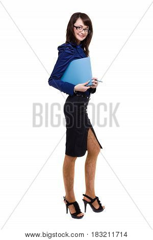 Full body portrait of happy smiling business woman with blue folder, isolated on white background