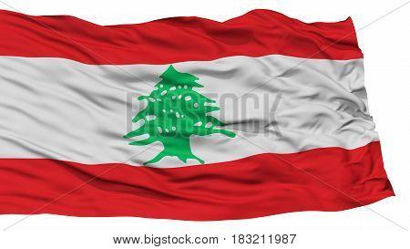 Isolated Lebanon Flag, Waving on White Background, High Resolution