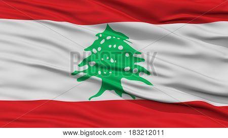 Closeup Lebanon Flag, Waving in the Wind, High Resolution