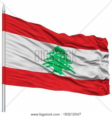 Lebanon Flag on Flagpole , Flying in the Wind, Isolated on White Background