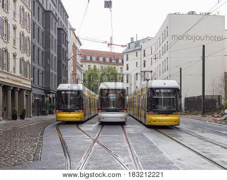 BERLIN GERMANY - APRIL 23 2017: Three BVG Trams Near Monbijou Park On A Rainy Day In Berlin