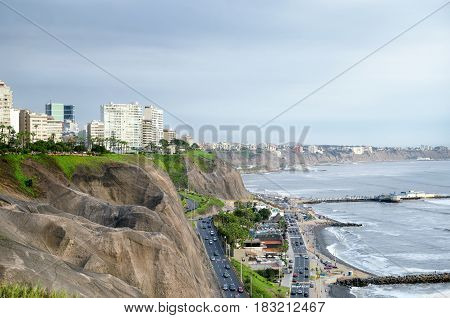 LIMA PERU 23 FEBRUARY 2017: view to Miraflores district residential area cliff highways and Pacific ocean