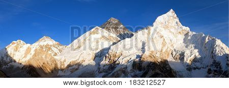 Mount Everest Evening panoramic view of Mount Everest from Kala Patthar - Way to Mount Everest base camp Sagarmatha national park Khumbu valley Nepal