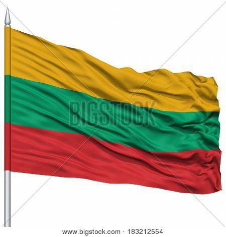 Lithuania Flag on Flagpole , Flying in the Wind, Isolated on White Background