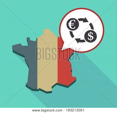 Long Shadow France Map With  An Euro Dollar Exchange Sign