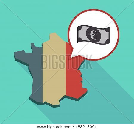 Long Shadow France Map With  An Euro Bank Note