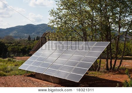 Solar Power Panels In A Rural Countryside