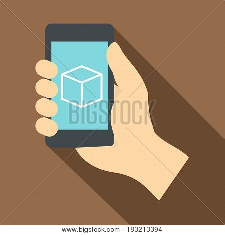 Smartphone with 3D model icon. Flat illustration of smartphone with 3D model vector icon for web on coffee background