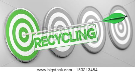Recycling as environmentalism or sustainability concept on target (3D Rendering)