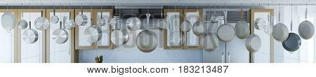Kitchen with many pans and pots hanging in order from celling (3D Rendering)