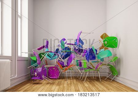 Many colorful chairs chaotic stacked in school small classroom space (3D Rendering)