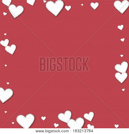 Cutout Paper Hearts. Square Scattered Border On Crimson Background. Vector Illustration.