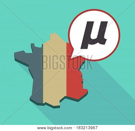 Long Shadow France Map With  A Micro Sign, Mu Greek Letter