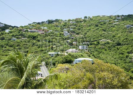 The view of Charlotte Amalie residential district on St Thomas island (U.S. Virgin Islands).