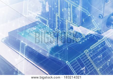 The concept of future technologies. Computer board with visual effects in a futuristic style. Automation of machine assembly of computer circuit board. The process of soldering the board.