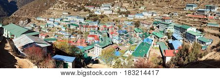 panoramatic view of Namche Bazar village - trek to Everest base camp - Nepal