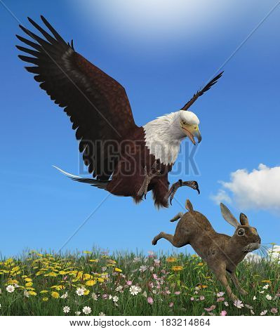 3D rendering of a glorious bald eagle hunting its prey a rabbit.