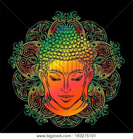 Buddha head with paisley ornament, mehendi. The symbol of Hinduism, Buddhism, spirituality and enlightenment. Tattoo, illustration, printing on fabric