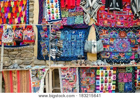 OLLANTAYTAMBO PERU 11 FEBRUARY 2017: handmade craft at the souvenir market