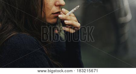 Homeless Adult Woman Smoking Cigarette Addiction