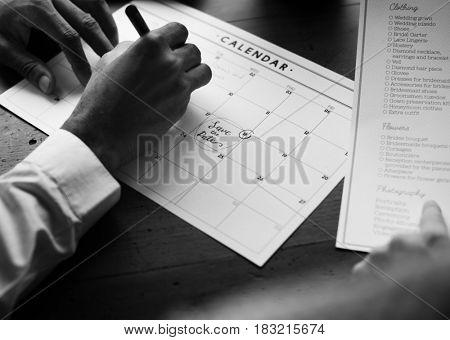 Wedding Planner Checklist Information Preparation Marked on Calendar