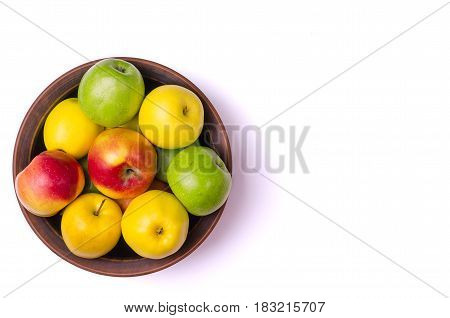 The Concept Of Healthy Eating, Fresh Apples In A Plate, Isolated On White.