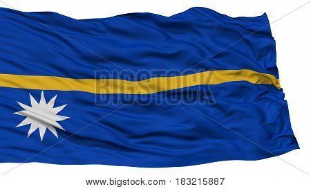 Isolated Nauru Flag, Waving on White Background, High Resolution