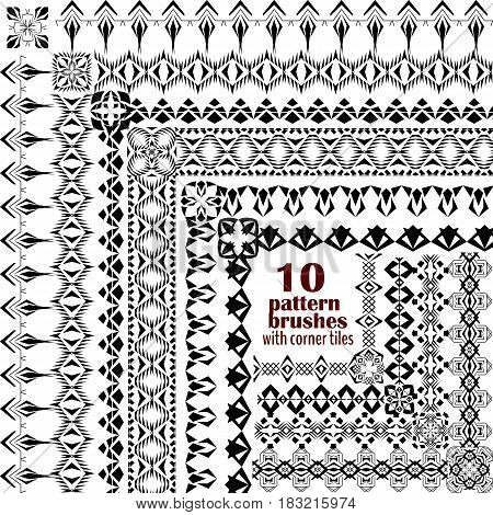 Vector set of geometric borders in ethnic boho style. Collection of pattern brushes with corner tiles inside. Aztec tribal ornaments