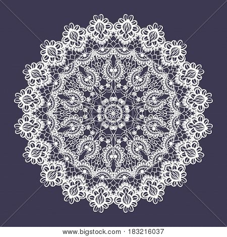Vector lace round ornament. Indian ornamental mandala. Imitation of needlework design. Decorative floral element