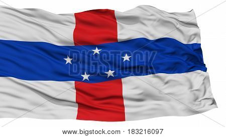 Isolated Netherlands Antilles Flag, Waving on White Background, High Resolution